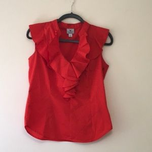 Red fancy ruffled top! Great for work!  PM
